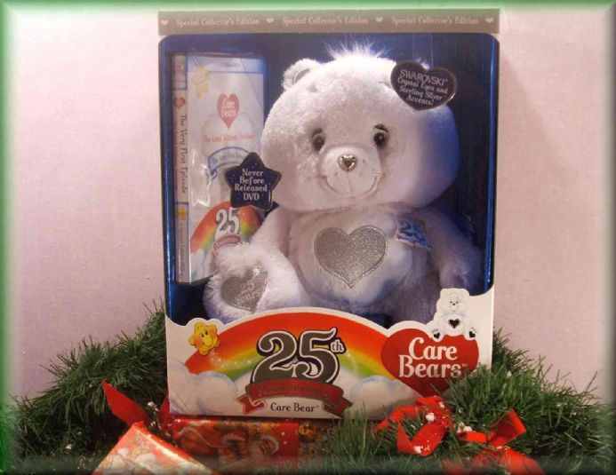"Special Edition  12"" white/silver care bear with dvd"
